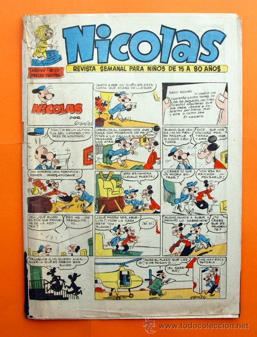 NICOLAS AÑO VII Nº 217 - EDITORIAL CLIPER 1948 - REVISTA SEMANAL DEL HUMOR (Tebeos y Comics - Cliper - Nicolas)