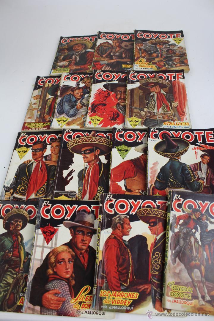 COM-171. EL COYOTE. LOTE DE 15 REVISTAS ,NUMEROS. 10 A 25. EDICIONES CLIPER. AÑOS CUARENTA. (Tebeos y Comics - Cliper - El Coyote)