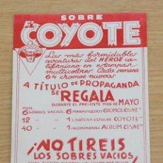 Tebeos: FOLLETO PUBLIDAD SOBRES EL COYOTE - CLIPER 1946. Lote 65960354