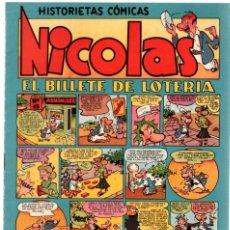Tebeos: NICOLAS. HISTORIETAS COMICAS. EL BILLETE DE LOTERIA. Nº 5. ORIGINAL. 1,50 PTAS.. Lote 92711740