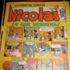 Tebeos: NICOLAS , HISTORIETAS COMICAS EDICIONES CLIPER . ! Y QUE VERBENA . TIPO TBO AÑOS 40 . Lote 131395602