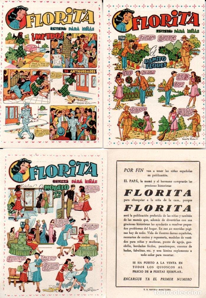 TRES FLYERS PUBLICIDAD LANZAMIENTO FLORITA (Tebeos y Comics - Cliper - Florita)