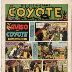 Tebeos: EL COYOTE. Nº 9. UN AVISO DEL COYOTE. ORIGINAL. 1947. LOMO ABIERTO. Lote 194958515