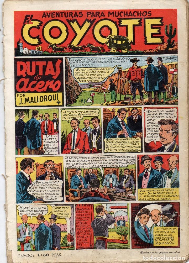 EL COYOTE. Nº 2. RUTAS DE ACERO. ORIGINAL. 1947. LOMO ABIERTO (Tebeos y Comics - Cliper - El Coyote)