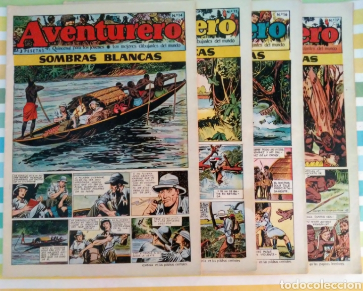 SOMBRAS BLANCAS Nº 14,15,16 Y 17 AVENTURERO AÑO I ED. FUTURO CLIPER (Tebeos y Comics - Cliper - Otros)