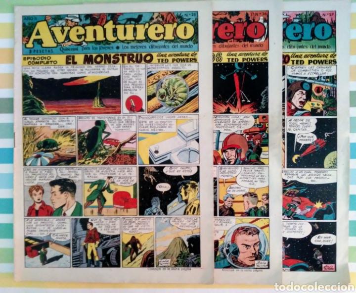 LOTE AVENTURERO Nº 25, 26 Y 27 TED POWERS EL MONSTRUO, MUNDOS GEMELOS Y ASTEROIDE FOTOGRAFICO (Tebeos y Comics - Cliper - Otros)