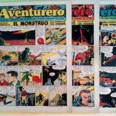 Tebeos: LOTE AVENTURERO Nº 25, 26 Y 27 TED POWERS EL MONSTRUO, MUNDOS GEMELOS Y ASTEROIDE FOTOGRAFICO. Lote 211584034