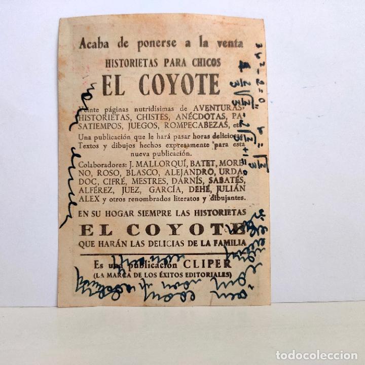 """Tebeos: Propaganda Historietas infantiles """"El Coyote"""", portada primer numero. El Coyote cabalga. Años 40. - Foto 2 - 221546097"""