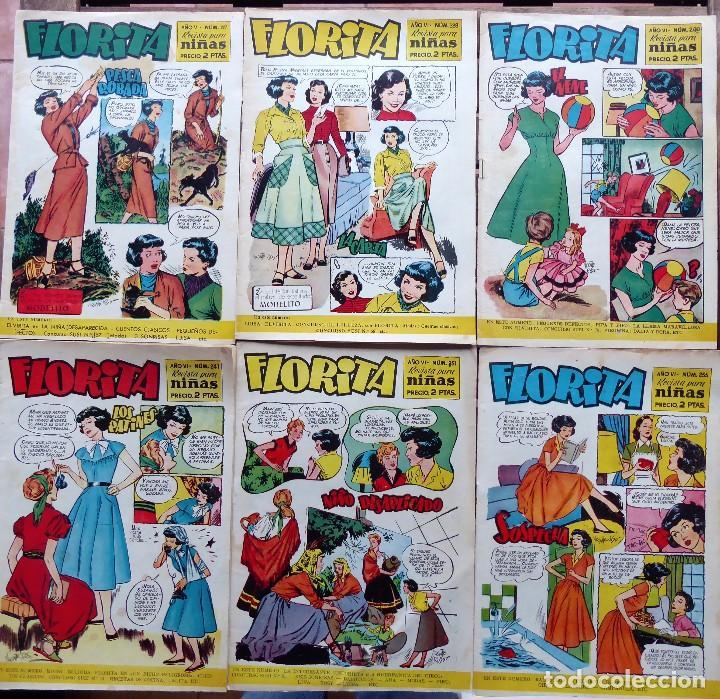 COM-249. FLORITA PARA NIÑAS. LOTE DE 6 REVISTAS. EDICIONES CLIPER. AÑOS 50. VER NÚMEROS. (Tebeos y Comics - Cliper - Florita)