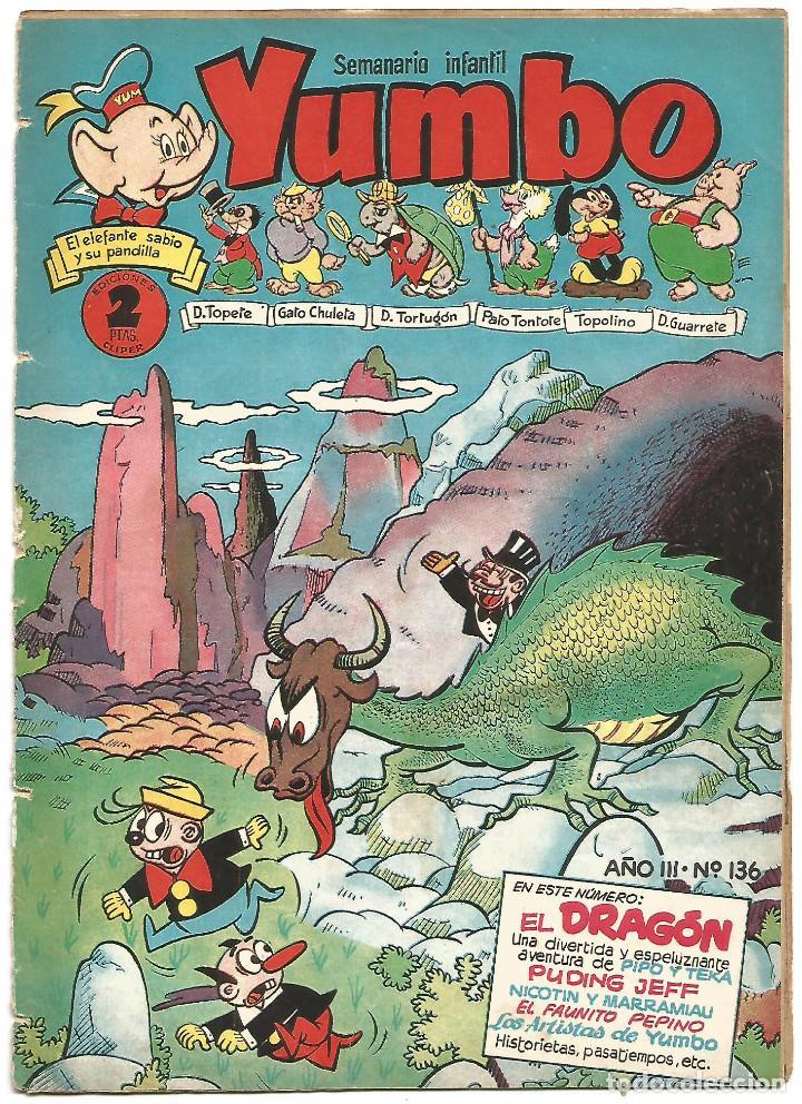 SEMANARIO INFANTIL YUMBO Nº 136 EDICIONES CLIPER AÑOS 50 (Tebeos y Comics - Cliper - Yumbo)