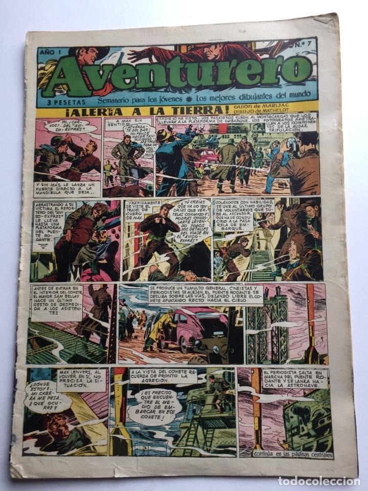 AVENTURERO SEMANARIO PARA LOS JÓVENES, AÑO 1, NÚM. 7, ED. FUTURO, AÑOS 50 (Tebeos y Comics - Cliper - Aventurero)