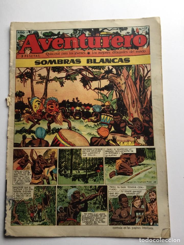 AVENTURERO SEMANARIO PARA LOS JÓVENES, AÑO 1, NÚM.17, ED. FUTURO, AÑOS 50 (Tebeos y Comics - Cliper - Aventurero)