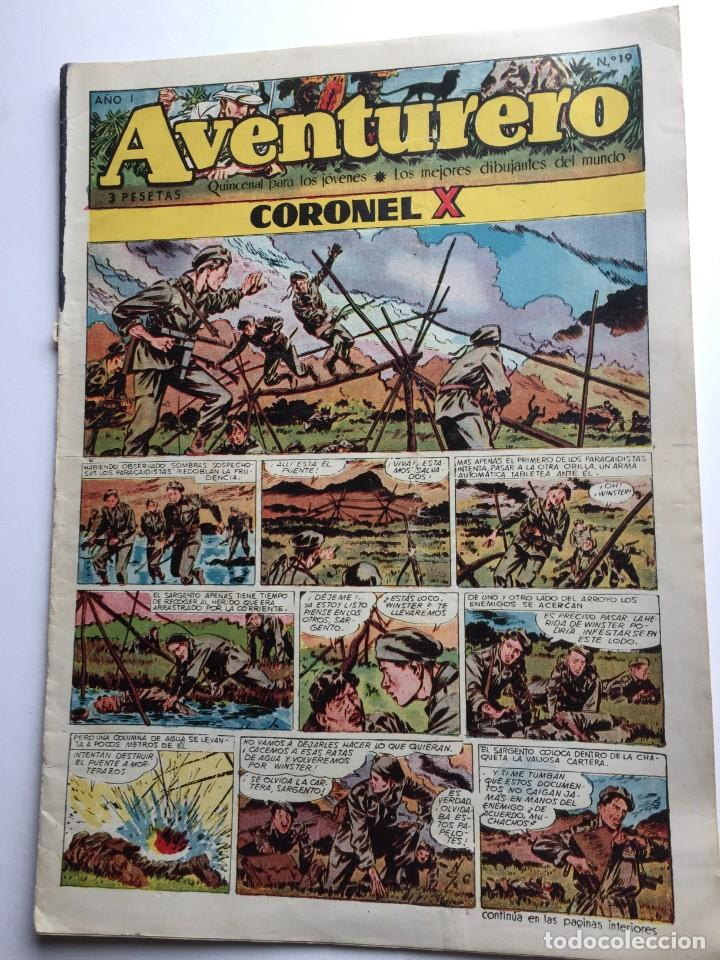 AVENTURERO SEMANARIO PARA LOS JÓVENES, AÑO 1, NÚM.19, ED. FUTURO, AÑOS 50 (Tebeos y Comics - Cliper - Aventurero)
