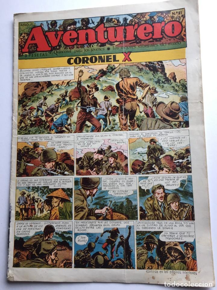 AVENTURERO SEMANARIO PARA LOS JÓVENES, AÑO 1, NÚM.21, ED. FUTURO, AÑOS 50 (Tebeos y Comics - Cliper - Aventurero)