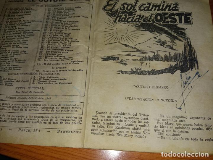 Tebeos: EL COYOTE EL SOL CAMINA HACIA EL OESTE 1ªEDICCION 1948 ED CLIPPER POSIBLE FIRMAS DEL AUTOR - Foto 6 - 255459350