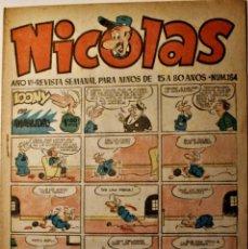 Tebeos: NICOLAS, EDITORIAL CLIPER 1948, NÚMERO ORIGINAL 164. Lote 255574075