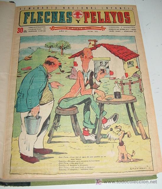 FLECHAS Y PELAYOS - TOMO ENCUADERNADO ORIGINAL DE 1943 INCLUYE DESDE EL NÚMERO 213 ALNUMERO 265 AMB (Tebeos y Comics - Tebeos Colecciones y Lotes Avanzados)