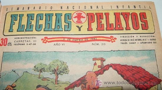 Tebeos: Flechas y Pelayos - Tomo encuadernado original de 1943 incluye desde el número 213 alnumero 265 amb - Foto 3 - 26305664