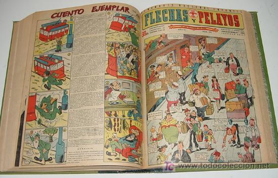 Tebeos: Flechas y Pelayos - Tomo encuadernado original de 1943 incluye desde el número 213 alnumero 265 amb - Foto 6 - 26305664