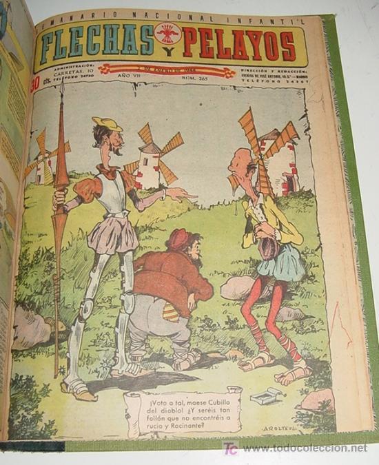 Tebeos: Flechas y Pelayos - Tomo encuadernado original de 1943 incluye desde el número 213 alnumero 265 amb - Foto 7 - 26305664