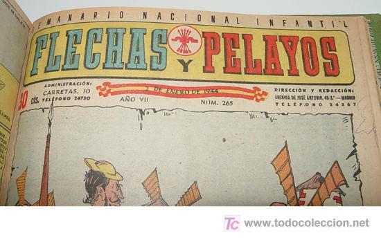 Tebeos: Flechas y Pelayos - Tomo encuadernado original de 1943 incluye desde el número 213 alnumero 265 amb - Foto 8 - 26305664