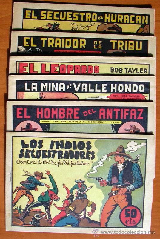 BOB TAYLER EL JUSTICIERO - EDITORIAL VALENCIANA 1945 - COLECCIÓN COMPLETA, 6 TEBEOS (Tebeos y Comics - Tebeos Colecciones y Lotes Avanzados)