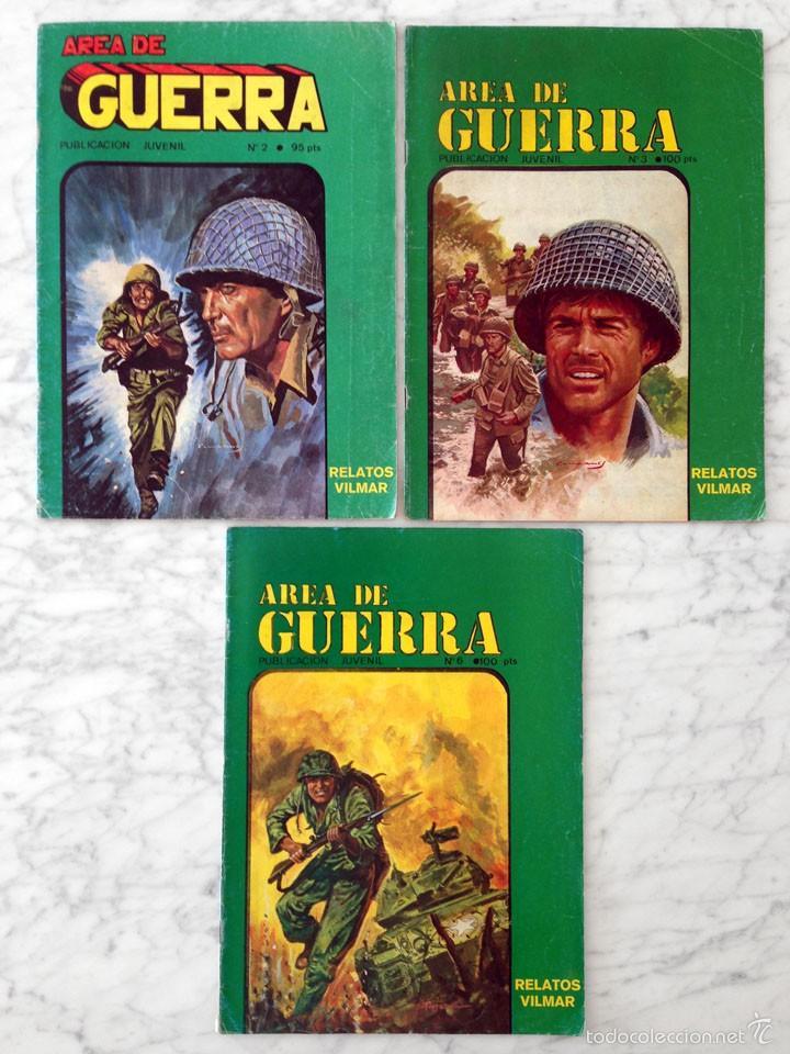 AREA DE GUERRA - LOTE DE 3 CÓMICS - NºS 2-3-6 - VILMAR - 1985 (Tebeos y Comics - Tebeos Pequeños Lotes de Conjunto)