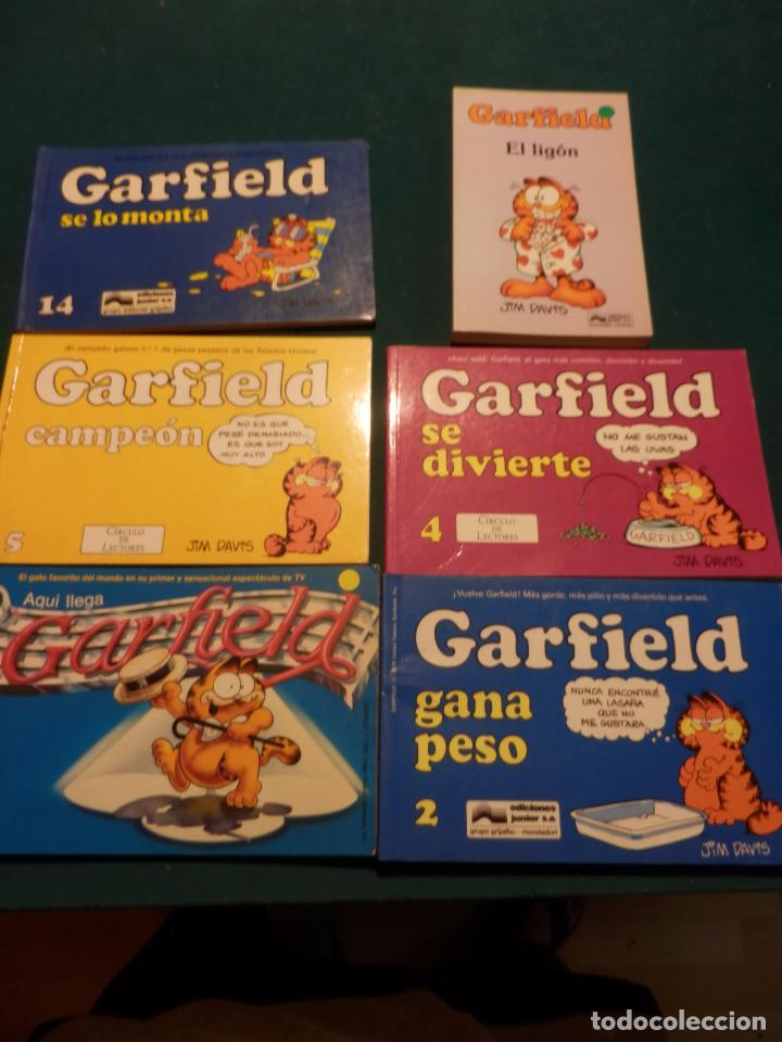 GARFIELD - LOTE DE 6 COMICS DE JIM DAVIS - Nº 1 + 2 + 4 + 5 + AQUÍ LLEGA GARFIELD (Tebeos y Comics - Tebeos Pequeños Lotes de Conjunto)