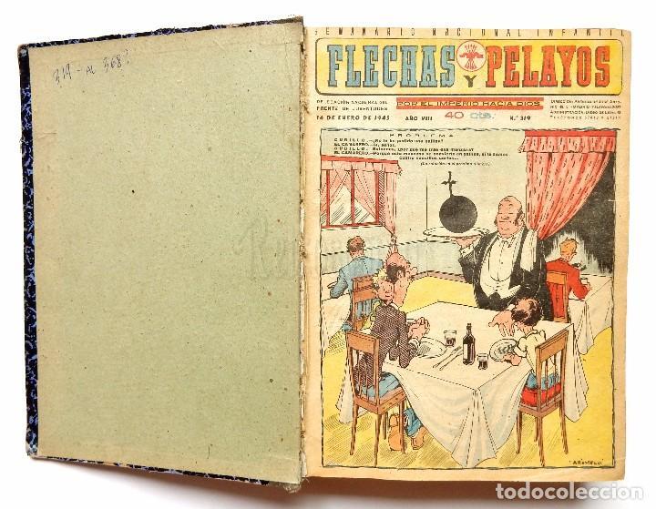 FLECHAS Y PELAYOS TOMO CON 49 TEBEOS NÚMEROS DEL 319 AL 368 AÑO 1945 (Tebeos y Comics - Tebeos Colecciones y Lotes Avanzados)
