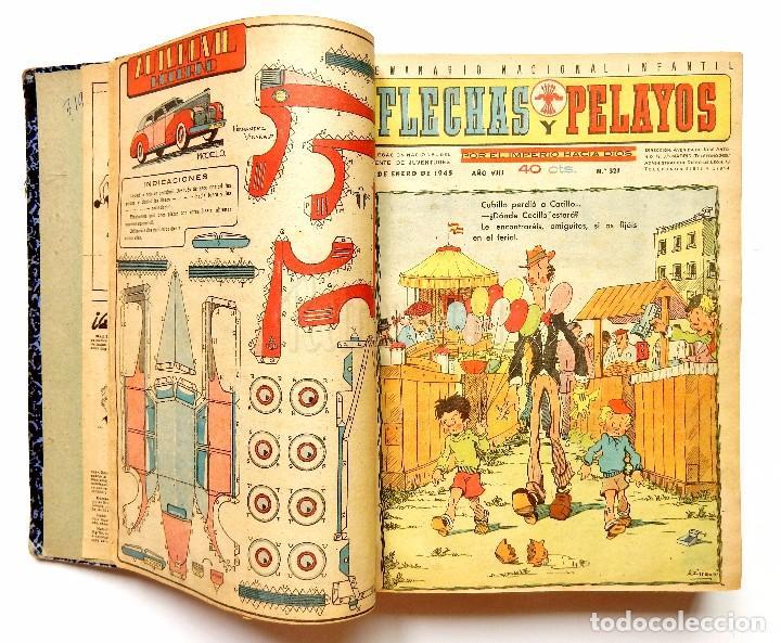 Tebeos: FLECHAS Y PELAYOS TOMO CON 49 TEBEOS NÚMEROS DEL 319 AL 368 AÑO 1945 - Foto 2 - 97950627