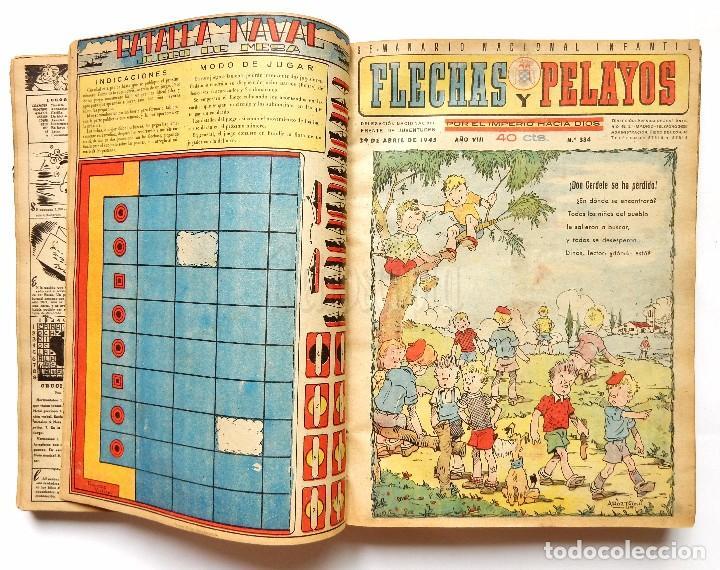 Tebeos: FLECHAS Y PELAYOS TOMO CON 49 TEBEOS NÚMEROS DEL 319 AL 368 AÑO 1945 - Foto 3 - 97950627
