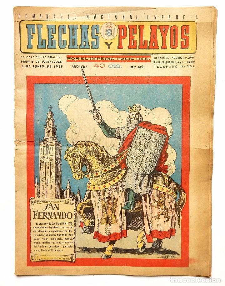 Tebeos: FLECHAS Y PELAYOS TOMO CON 49 TEBEOS NÚMEROS DEL 319 AL 368 AÑO 1945 - Foto 13 - 97950627