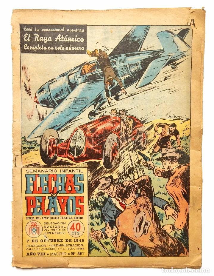 Tebeos: FLECHAS Y PELAYOS TOMO CON 49 TEBEOS NÚMEROS DEL 319 AL 368 AÑO 1945 - Foto 16 - 97950627