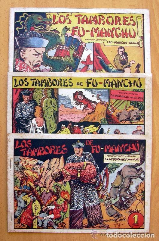 LOS TAMBORES DE FU-MANCHÚ - SELECCIÓN AVENTURERA - VALENCIANA 1943, COMPLETA 3 EJEMPLARES, VER FOTOS (Tebeos y Comics - Tebeos Colecciones y Lotes Avanzados)
