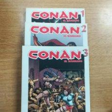 Tebeos: CONAN (BIBLIOTECA GRANDES HEROES DEL COMIC - EL MUNDO) COLECCION COMPLETA (3 TOMOS). Lote 137972653