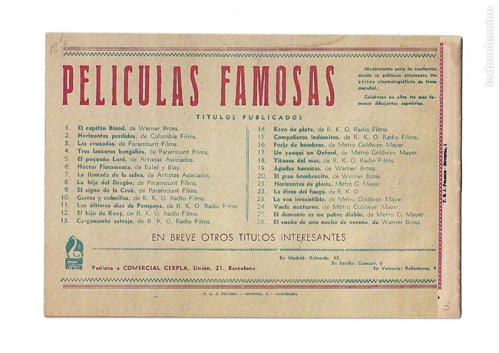 Tebeos: Peliculas Famosas, Año 1.944. Colección Completa son 33. Tebeos Originales Editorial Cliper. - Foto 7 - 138737574