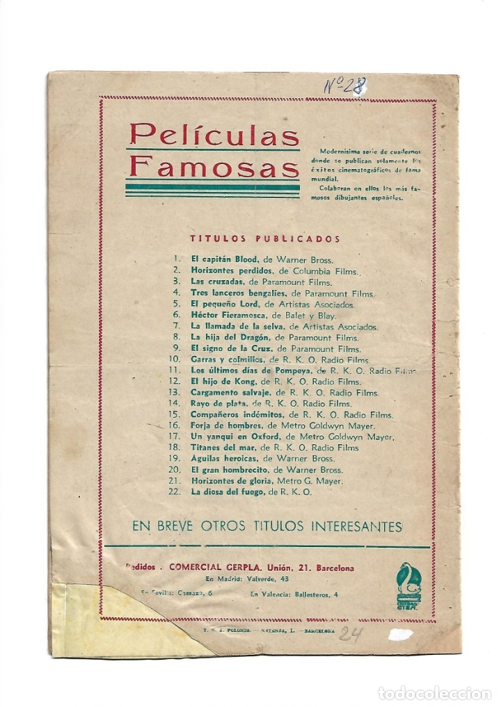 Tebeos: Peliculas Famosas, Año 1.944. Colección Completa son 33. Tebeos Originales Editorial Cliper. - Foto 49 - 138737574