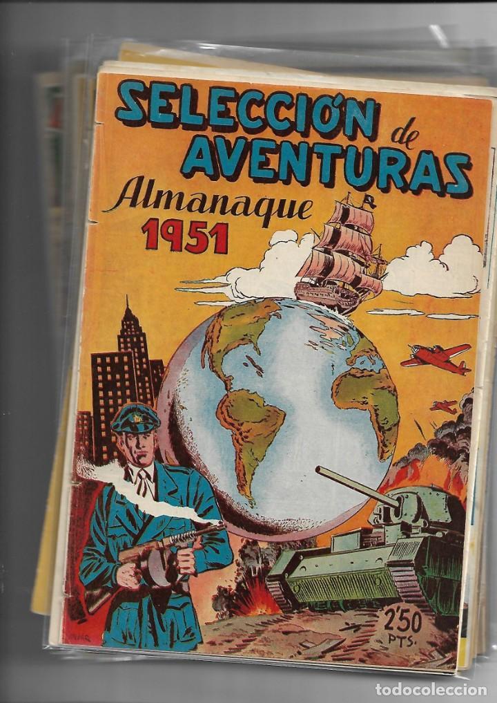 SELECCIÓN DE AVENTURAS, AÑO 1950. COLECCIÓN COMPLETA SON 19. TEBEOS CON EL ALMANAQUE SON ORIGINALES (Tebeos y Comics - Tebeos Colecciones y Lotes Avanzados)