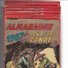 Tebeos: DON PEDRO CONDE AÑO 1956 COLECCIÓN COMPLETA SON 12 TEBEOS ORIGINALES + ALMANAQUE DEL 1957 MUY NUEVO. Lote 147208462