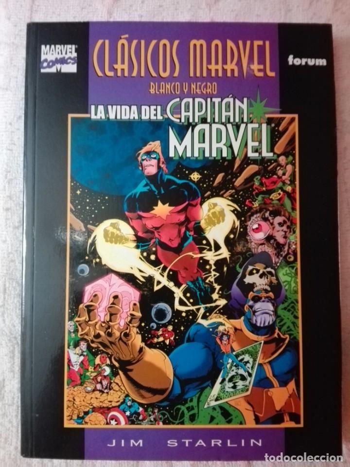 CLÁSICOS MARVEL EN BLANCO Y NEGRO - CAPITÁN MARVEL: LA VIDA DEL CAPITÁN MARVEL - FORUM (Tebeos y Comics - Tebeos Colecciones y Lotes Avanzados)
