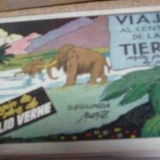 Tebeos: VIAJE AL CENTRO DE LA TIERRA COMPLETA EN SUS 2 PARTES ORIGINALES, CISNE 1942, MUY BIEN CON SUSCROMOS. Lote 171034837