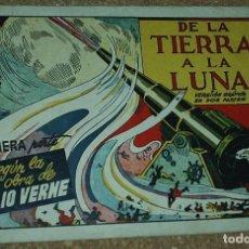 Tebeos: DE LA TIERRA A LA LUNA COMPLETA EN SUS 2 PARTES ORIGINALES, CISNE 1942, MUY BIEN CON SUSCROMOS. Lote 171034977