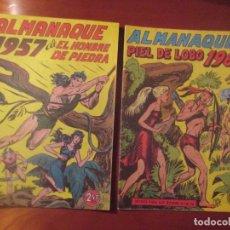 Tebeos: ALMANAQUES: HOMBRE DE PIEDRA (1957) PIEL DE LOBO (1960) REEDICION. Lote 173608534