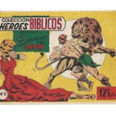 Tebeos: COLECCIÓN HÉROES BIBLICOS AÑO 1954 PRESENTA Nº 1 SANSON Y EL LEÓN Nº 2 SANSON Y DALILA SON DIFICILES. Lote 175145778
