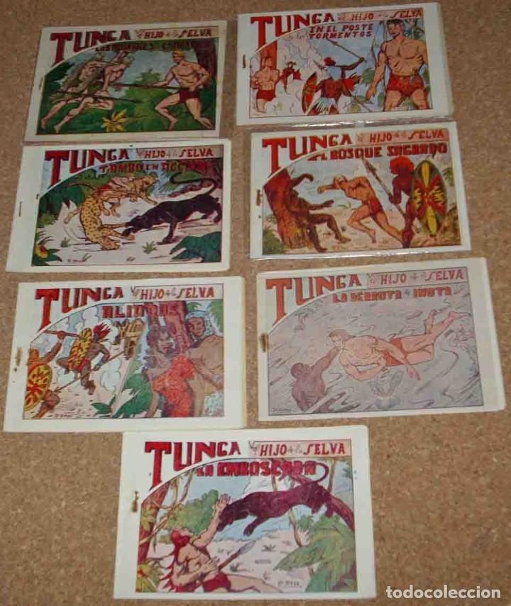 TUNGA HIJO DE LA SELVA LOTE DE 7 TEBEOS 1ª EDICIÓN BELTRÁN 1957 ORIGINALES PERFECTOS (Tebeos y Comics - Tebeos Colecciones y Lotes Avanzados)