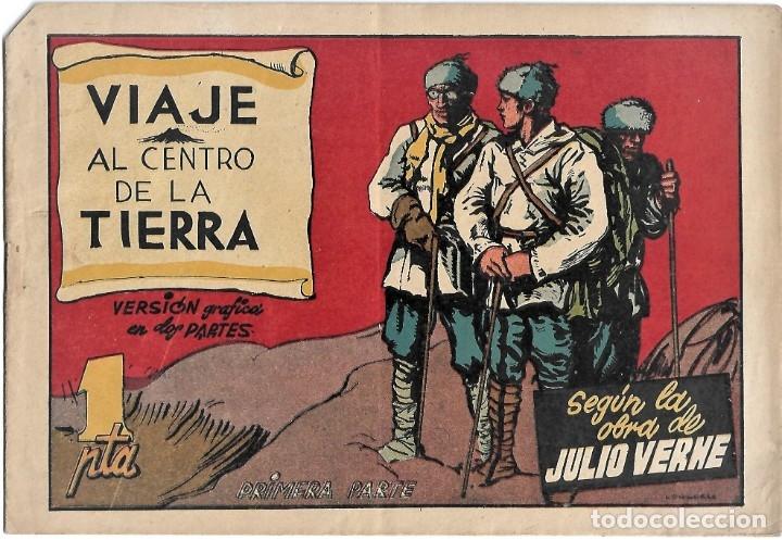 VIAJE AL CENTRO DE LA TIERRA COMPLETA EN SUS 2 PARTES ORIGINALES, CISNE 1942, MUY BIEN CON SUSCROMOS (Tebeos y Comics - Tebeos Colecciones y Lotes Avanzados)