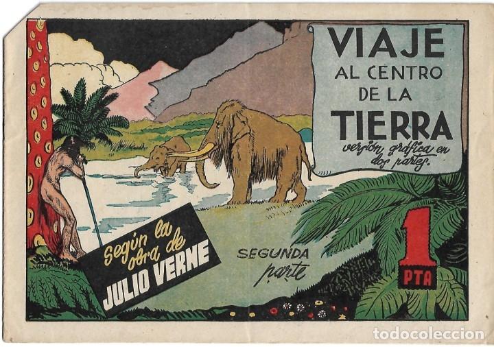 Tebeos: VIAJE AL CENTRO DE LA TIERRA COMPLETA EN SUS 2 PARTES ORIGINALES, CISNE 1942, MUY BIEN CON SUSCROMOS - Foto 2 - 177264940