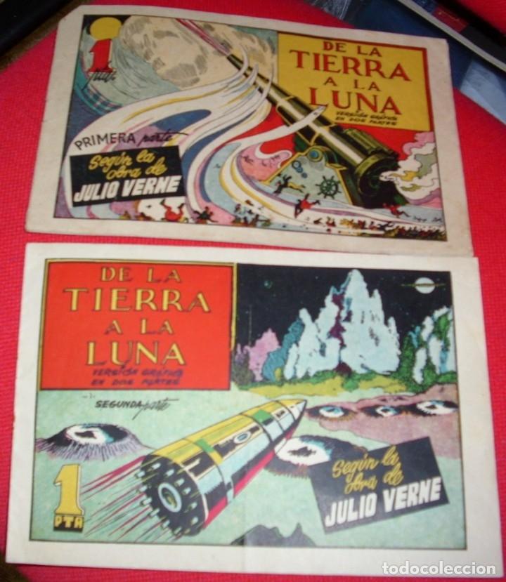 DE LA TIERRA A LA LUNA COMPLETA EN SUS 2 PARTES ORIGINALES, CISNE 1942, MUY BIEN CON SUSCROMOS (Tebeos y Comics - Tebeos Colecciones y Lotes Avanzados)