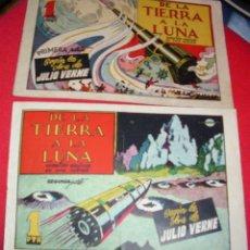 Tebeos: DE LA TIERRA A LA LUNA COMPLETA EN SUS 2 PARTES ORIGINALES, CISNE 1942, MUY BIEN CON SUSCROMOS. Lote 177265267
