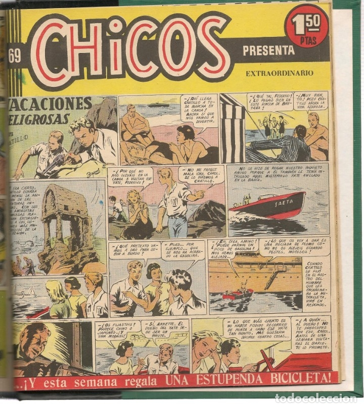Tebeos: CHICOS. 69 NROS. ¡¡COLECCIÓN COMPLETA!!. ENCUADERNADA EN 2 TOMOS. EDICIONES CID, 1954. (RF.MA)B/21 - Foto 2 - 180225412